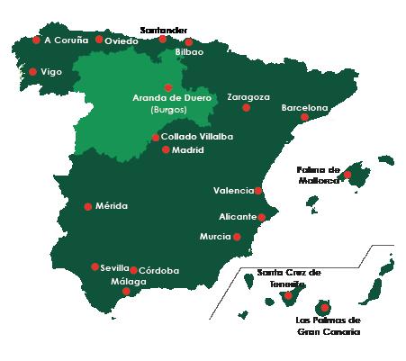 Mapa de centros de compulsa