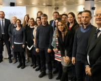 Foto de familia de la presentación del proyecto Refuskills, con representantes de ANCED y UDIMA.