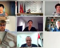 Wang, Landeta, Chen, Cortizo, Xiaojing, Jing y Nagen, durante el acto virtual.