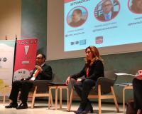 Pedro Aceituno, segundo a la izquierda de la imagen, durante el V Congreso de Científicos Emprendedores, este jueves en Madrid.