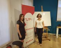 De izquierda a derecha, Lorena Cervantes y María Barriga (Redacción y fotografías: UDIMA Media)
