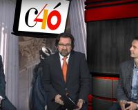 Álvaro de Diego, Luis Miguel Belda y Juan Manuel Herreros, en el plató de la UDIMA