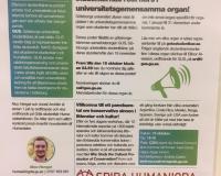 """Boletín informativo (""""Skitviktigt"""") del centro de estudiantes de la universidad"""